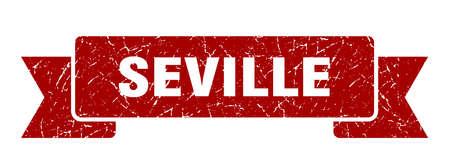 Seville ribbon. Red Seville grunge band sign Ilustração