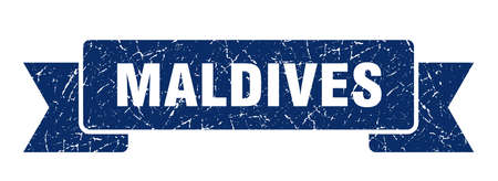 Maldives ribbon. Blue Maldives grunge band sign