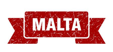 Malta ribbon. Red Malta grunge band sign