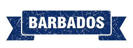 Barbados ribbon. Blue Barbados grunge band sign