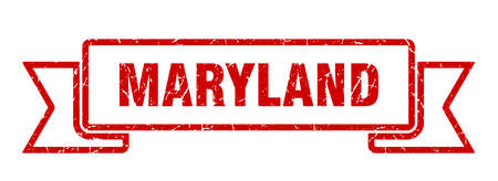 Maryland ribbon. Red Maryland grunge band sign Vettoriali