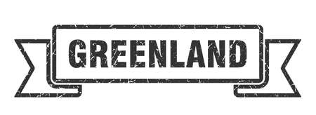 Greenland ribbon. Black Greenland grunge band sign