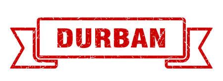Durban ribbon. Red Durban grunge band sign