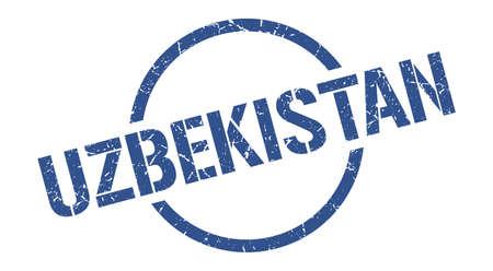 Uzbekistan stamp. Uzbekistan grunge round isolated sign