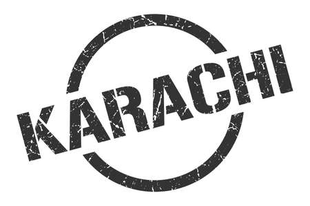 Karachi stamp. Karachi grunge round isolated sign