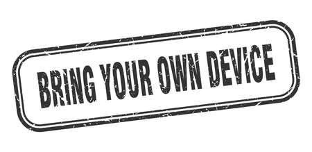 bring your own device stamp. bring your own device square grunge black sign