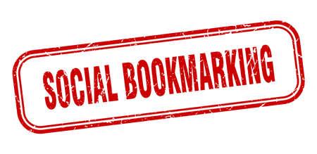 social bookmarking stamp. social bookmarking square grunge red sign Ilustrace