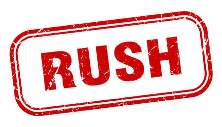 rush stamp. rush square grunge red sign Ilustração