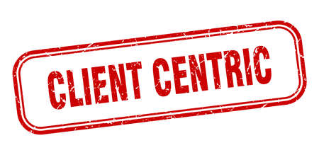 client centric stamp. client centric square grunge red sign