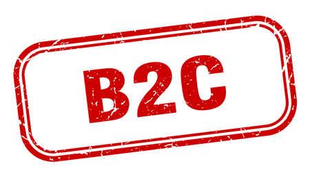 b2c stamp. b2c square grunge red sign Ilustrace