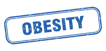 obesity stamp. obesity square grunge blue sign