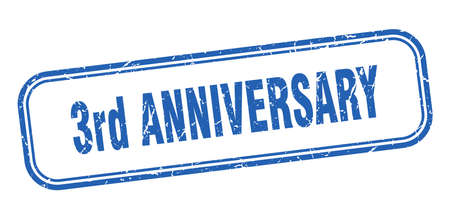 3rd anniversary stamp. 3rd anniversary square grunge blue sign