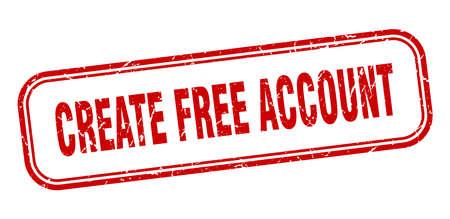 create free account stamp. create free account square grunge red sign Foto de archivo - 137894914