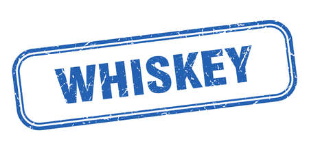 whiskey stamp. whiskey square grunge blue sign