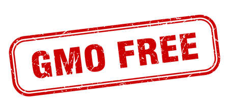 gmo free stamp. gmo free square grunge red sign Foto de archivo - 137895042