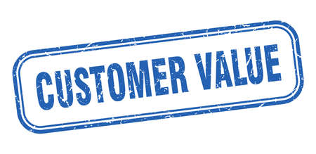customer value stamp. customer value square grunge blue sign Ilustrace