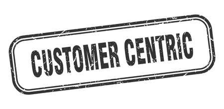 customer centric stamp. customer centric square grunge black sign