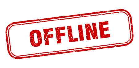 offline stamp. offline square grunge red sign