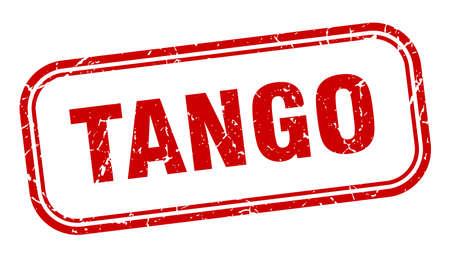 tango stamp. tango square grunge red sign