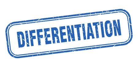 differentiation stamp. differentiation square grunge blue sign