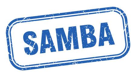 samba stamp. samba square grunge blue sign