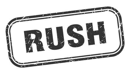 rush stamp. rush square grunge black sign Ilustração