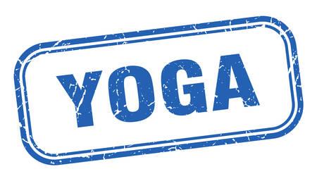 yoga stamp. yoga square grunge blue sign