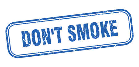don't smoke stamp. don't smoke square grunge blue sign Stock Illustratie