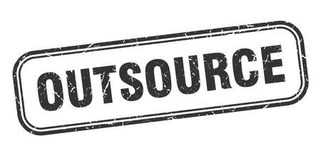 outsource stamp. outsource square grunge black sign