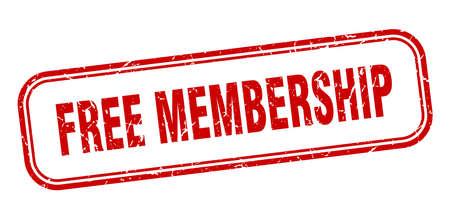 free membership stamp. free membership square grunge red sign Foto de archivo - 137897714