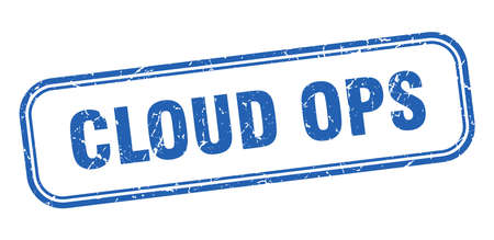 cloud ops stamp. cloud ops square grunge blue sign