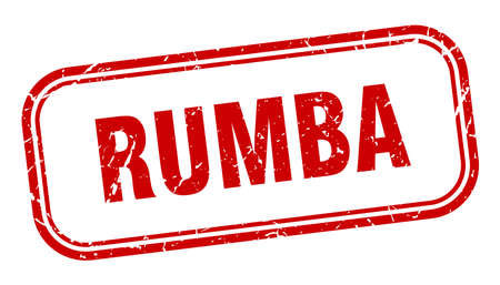 rumba stamp. rumba square grunge red sign