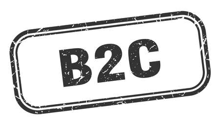 b2c stamp. b2c square grunge black sign