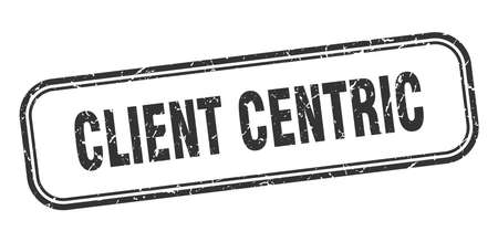 client centric stamp. client centric square grunge black sign