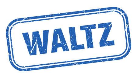 waltz stamp. waltz square grunge blue sign