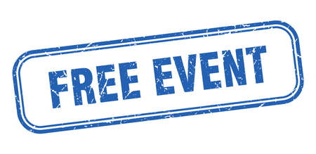 free event stamp. free event square grunge blue sign Foto de archivo - 137897800