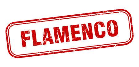 flamenco stamp. flamenco square grunge red sign Ilustrace