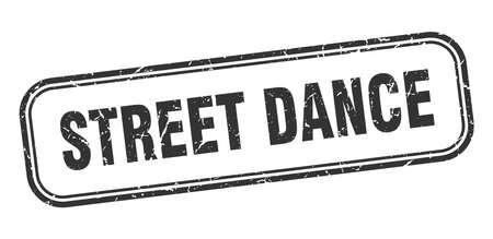street dance stamp. street dance square grunge black sign