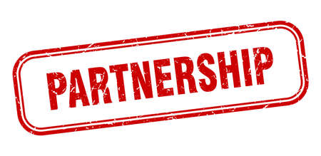 partnership stamp. partnership square grunge red sign