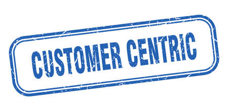 customer centric stamp. customer centric square grunge blue sign