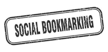 social bookmarking stamp. social bookmarking square grunge black sign