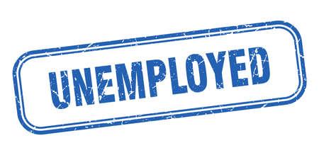unemployed stamp. unemployed square grunge blue sign