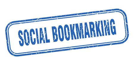 social bookmarking stamp. social bookmarking square grunge blue sign