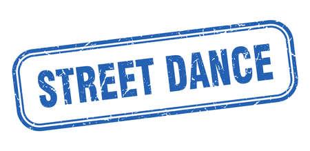 street dance stamp. street dance square grunge blue sign