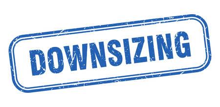 downsizing stamp. downsizing square grunge blue sign Foto de archivo - 137956758