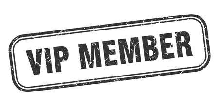 vip member stamp. vip member square grunge black sign Foto de archivo - 137956986