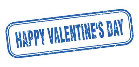 happy Valentine's day stamp. happy Valentine's day square grunge blue sign Foto de archivo - 137957006