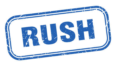 rush stamp. rush square grunge blue sign