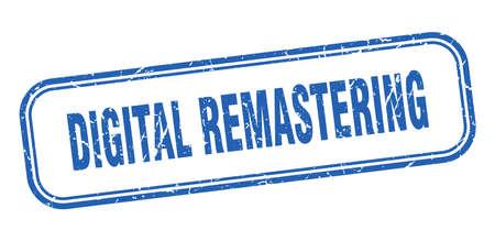 digital remastering stamp. digital remastering square grunge blue sign Foto de archivo - 137960009