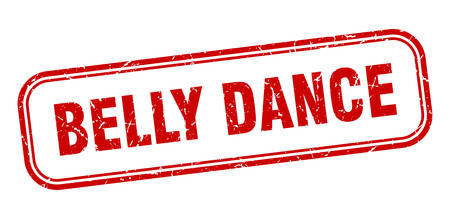 belly dance stamp. belly dance square grunge red sign Ilustrace